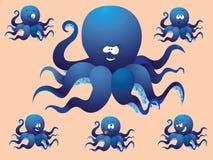 Blauwe vrolijke beeldverhaaloctopus, met een verschillend gezicht. Royalty-vrije Stock Afbeeldingen
