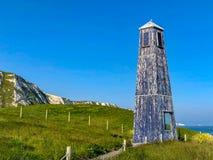 Blauwe Vuurtoren in Dover stock foto's