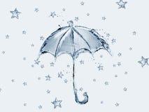 Blauwe Waterparaplu en Sterren Royalty-vrije Stock Fotografie
