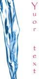 Blauwe waterstraal, het bespatten, uw tekst Royalty-vrije Stock Foto's
