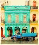 Blauwe watertankwagen in Havana in Cuba stock foto