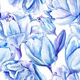 Blauwe Waterverf Tulip Pattern Royalty-vrije Stock Fotografie