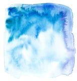 Blauwe waterverfachtergrond Abstract Hand geschilderd malplaatje met ongelijke randen vector illustratie