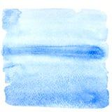 Blauwe waterverfachtergrond Purpere blauwe vierkante waterverfbanner Royalty-vrije Stock Foto