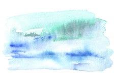 Blauwe waterverfachtergrond voor uw ontwerp Hand getrokken textuur stock fotografie