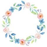 Blauwe Waterverfbloem Hand Geschilderd Garland Floral Wreath Stock Afbeeldingen
