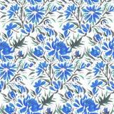 Blauwe waterverfbloemen Stock Foto
