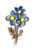 Blauwe waterverfbloemen Stock Afbeeldingen