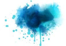 Blauwe waterverfplons Stock Afbeelding