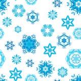 Blauwe waterverfsneeuwvlokken royalty-vrije illustratie