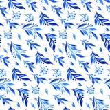 Blauwe waterverftakken en knoppen Naadloos patroon Royalty-vrije Stock Afbeeldingen