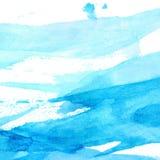 Blauwe waterverftextuur met borstelslagen en Royalty-vrije Stock Afbeelding