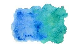 Blauwe waterverfvlek Stock Afbeeldingen