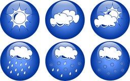 Blauwe weerpictogrammen vector illustratie