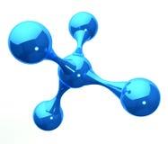 Blauwe weerspiegelende moleculaire structuur op wit Royalty-vrije Stock Fotografie