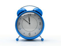 Blauwe wekker die op witte 3D achtergrond wordt geïsoleerde Stock Foto
