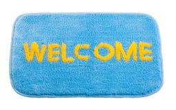 Blauwe welkome deurmat Stock Fotografie