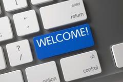Blauwe Welkome Sleutel op Toetsenbord 3d Stock Foto