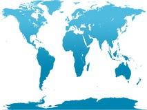 Blauwe wereldkaart Stock Afbeelding