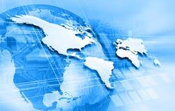 Blauwe wereldkaart en wolkenkrabbers Royalty-vrije Stock Foto's