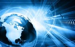 Blauwe wereldkaart en wolkenkrabbers Royalty-vrije Stock Afbeeldingen