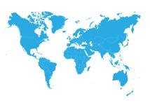Blauwe wereldkaart op witte achtergrond Hoge politieke detailspatie Vector illustratie royalty-vrije illustratie