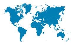 Blauwe wereldkaart op witte achtergrond Vector illustratie Stock Afbeelding