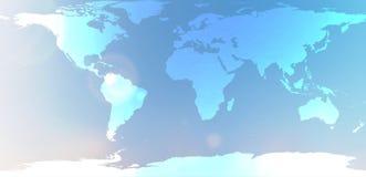 Blauwe wereldkaart in vage achtergrondhemelsamenvatting Royalty-vrije Stock Foto