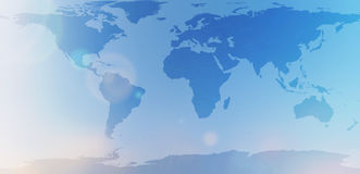 Blauwe wereldkaart in vage achtergrondhemelsamenvatting Stock Fotografie