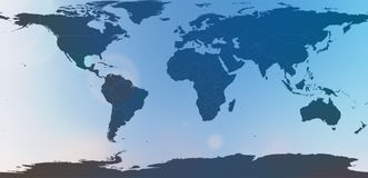 Blauwe wereldkaart in vage achtergrondhemelsamenvatting Stock Foto