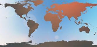 Blauwe wereldkaart in vage achtergrondhemelsamenvatting Royalty-vrije Stock Fotografie
