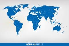 Blauwe wereldkaart Vector Royalty-vrije Stock Afbeelding