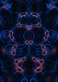 Blauwe wervelingen en rode sterrenachtergrond Stock Afbeelding