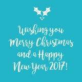 Blauwe wintertalings Vrolijke Kerstmis en de Gelukkige kaart van de Nieuwjaargroet met royalty-vrije illustratie