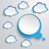 Blauwe Witte Gedachte Bel met Wolken stock illustratie