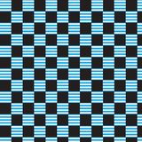 Blauwe witte gestreepte geruite patroon zwarte achtergrond Stock Fotografie