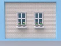 Blauwe witte muurbaksteen twee vensters en roze flower-pot 3d beeldverhaalstijl geeft terug royalty-vrije stock afbeeldingen