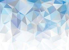 Blauwe Witte Veelhoekige Mozaïekachtergrond Abstracte Blauwe Achtergrond Stock Afbeelding