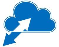 Blauwe wolk die met synchronisatiepijlen gegevens verwerken Stock Afbeeldingen