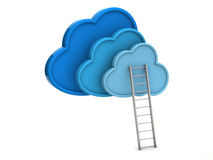 Blauwe wolken en ladder stock illustratie