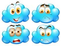 Blauwe wolken met verschillende gelaatsuitdrukkingen royalty-vrije illustratie