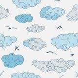 Blauwe Wolken, naadloos patroon Stock Fotografie