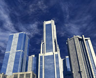 Blauwe Wolkenkrabbers Stock Foto's