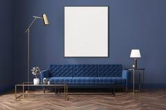 Blauwe woonkamer, blauwe bank, affiche vector illustratie