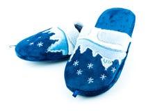Blauwe zachte pantoffels stock afbeeldingen