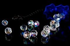 Blauwe zak en diamanten Stock Afbeelding