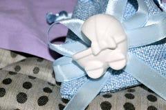Blauwe zak met confettien Royalty-vrije Stock Afbeeldingen