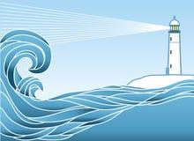 Blauwe zeegezichthorizon. Stock Afbeeldingen