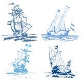 Blauwe zegelschepen Royalty-vrije Stock Afbeeldingen
