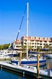 Blauwe zeilboot Stock Foto's
